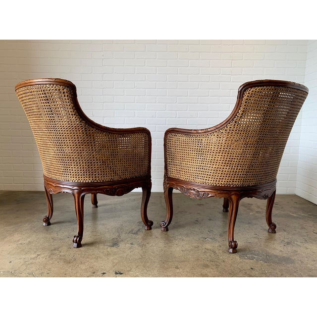 1950s Curved Double Cane Lounge Chairs- a Pair For Sale - Image 5 of 13