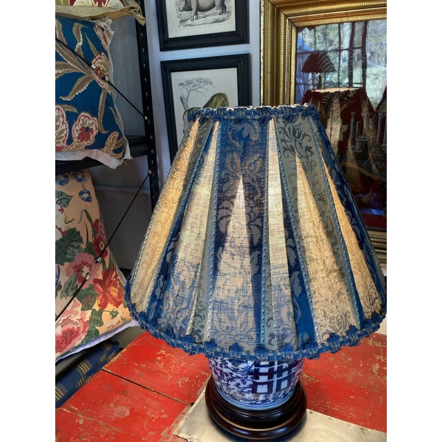 Traditional Antique Fabric Blue Pleated Lampshade For Sale - Image 3 of 4