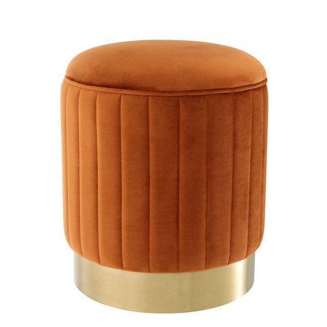 2010s Eichholtz Allegra Orange Velvet Stool For Sale - Image 5 of 5