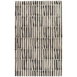Nikki Chu by Jaipur Living Saville Handmade Abstract White/ Black Area Rug - 5′ × 8′ For Sale