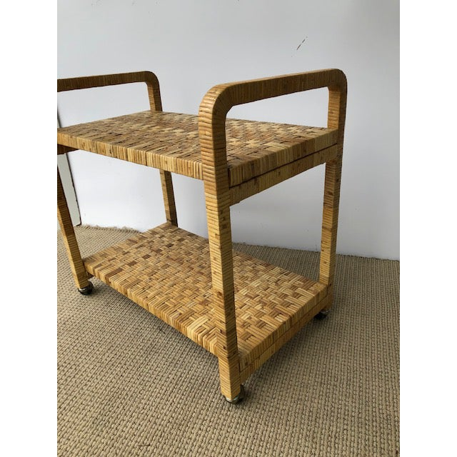 Wood 1980s Boho Chic Rattan Bar Cart For Sale - Image 7 of 11