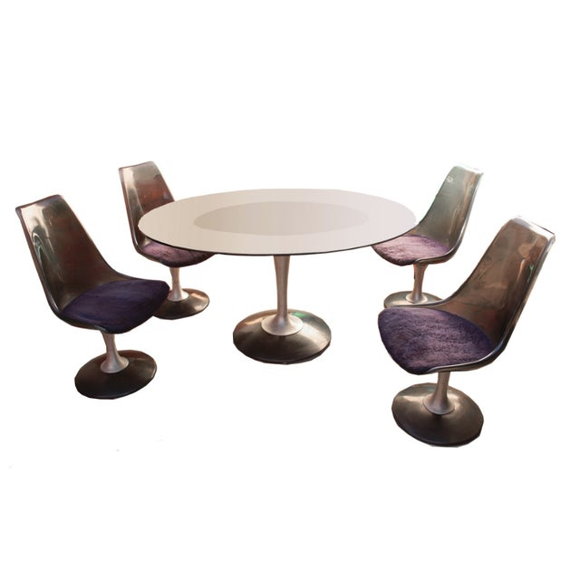 Chromcraft Smoked Glass Dining Set For Sale