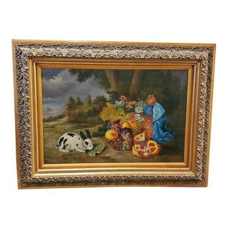 """""""Rabbit and Fruit"""" Oil Painting on Canvas by Bill Heindel For Sale"""