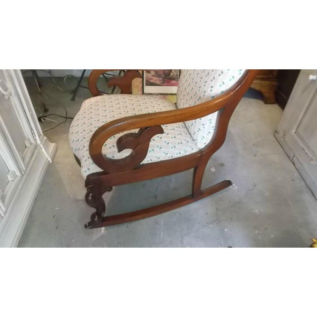 Traditional Late 19th Century Antique Mahogany Brown Victorian Rocking Chair For Sale - Image 3 of 5