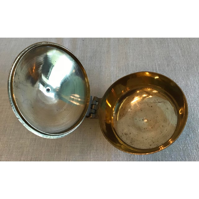 Brass Vintage Hinged Lid Brass Ashtray For Sale - Image 8 of 9
