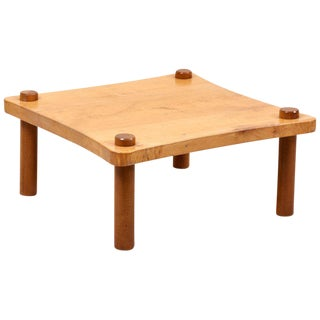 Solid Wood Coffee Table in the Style of Jean Royère For Sale