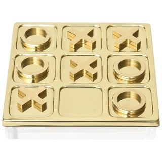 Brass Tic Tac Toe Game Mid-Century Modern For Sale
