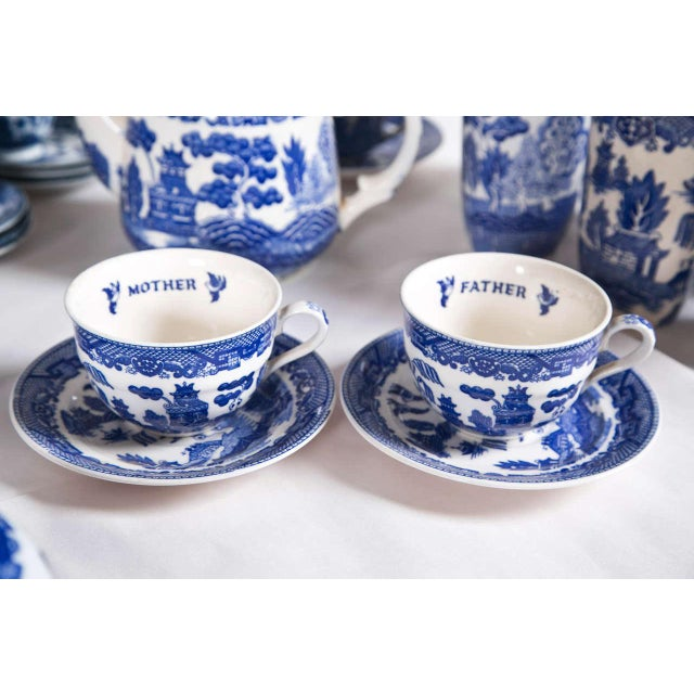 Vintage Collection of Blue and White Willow - Set of 40 For Sale - Image 10 of 12