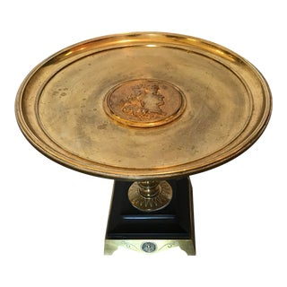 Brass Pedestal Stand/ Plate With Raised Center Greco-Roman Medallion For Sale