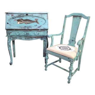 Shabby Chic Sky Blue Secretary Desk With Chair - 2 Pieces For Sale