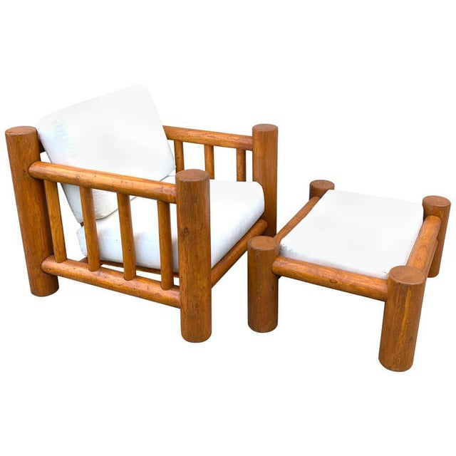 Mid-Century Dowel Lounge Chair and Ottoman For Sale - Image 10 of 10