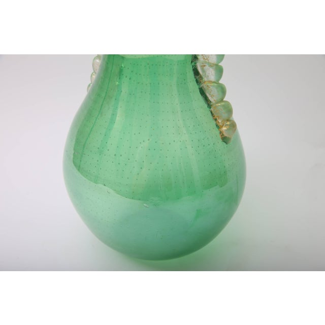 Barovier & Toso 1930s Art Deco Barovier E Toso Controlled Tiny Bubbles Green Gold Murano Glass Vase For Sale - Image 4 of 10