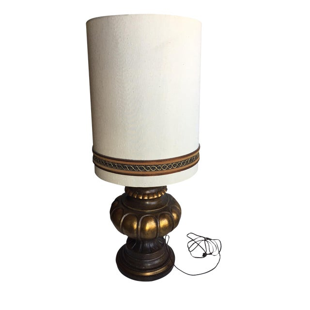 Vintage Table Lamp with Original Shade For Sale