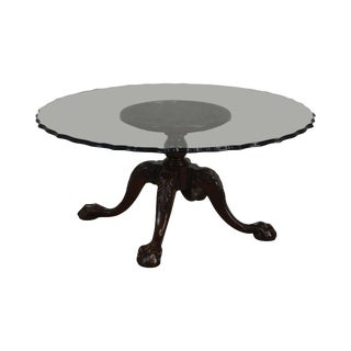 Carved Mahogany Ball & Claw Chippendale Style Glass Top Coffee Table For Sale