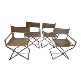 Mid-Century Modern Campaign Director's Chairs - Set of 4 For Sale