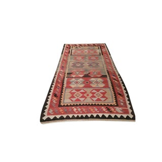 Vintage Turkish Kilim Hand Made Runner Rug - 4′8″ × 10′5″ - Size Cat. 5x8 6x9 For Sale