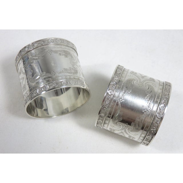 Metal 1870s Antique Sterling Silver Napkin Rings - a Pair For Sale - Image 7 of 13