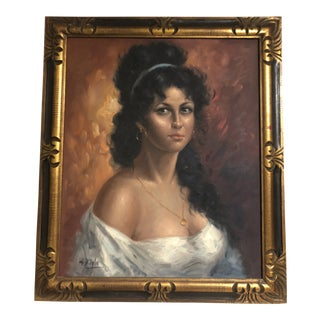 "1960's ""Gypsy Woman"" Oil Painting by S. Hilgle For Sale"