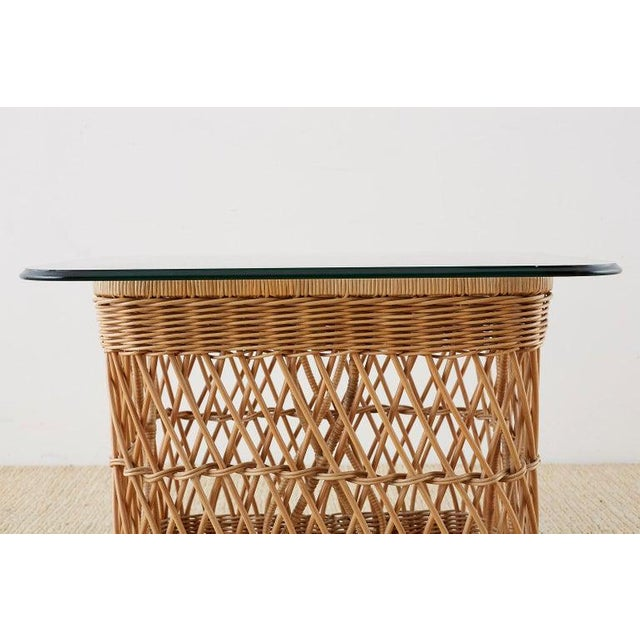 Bamboo McGuire Organic Modern Rattan Wicker Coffee Cocktail Table For Sale - Image 7 of 13