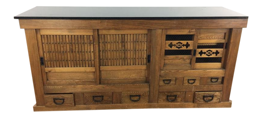 Early 20th Century Vintage Tansu Cabinet With Granite Top For Sale