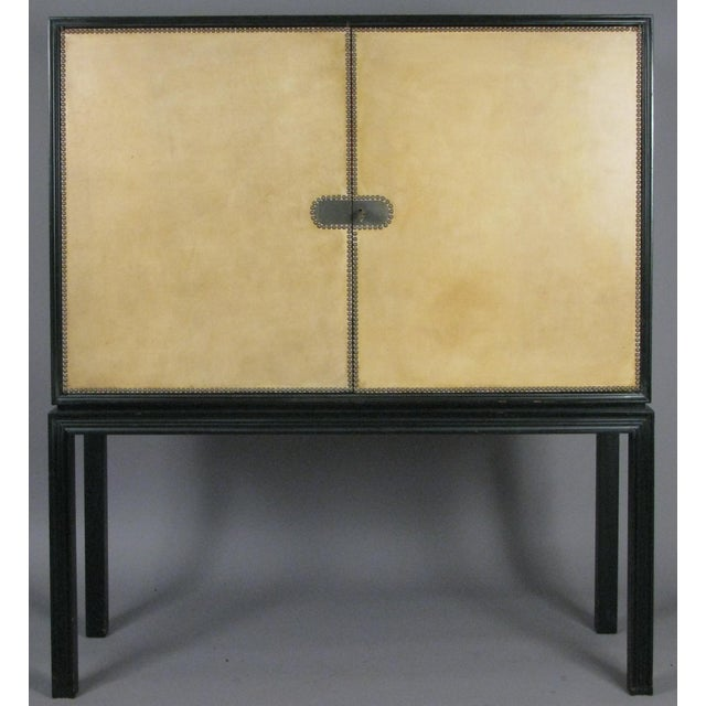 1940s Tommi Parzinger Lacquered Leather Bar Cabinet For Sale - Image 10 of 11