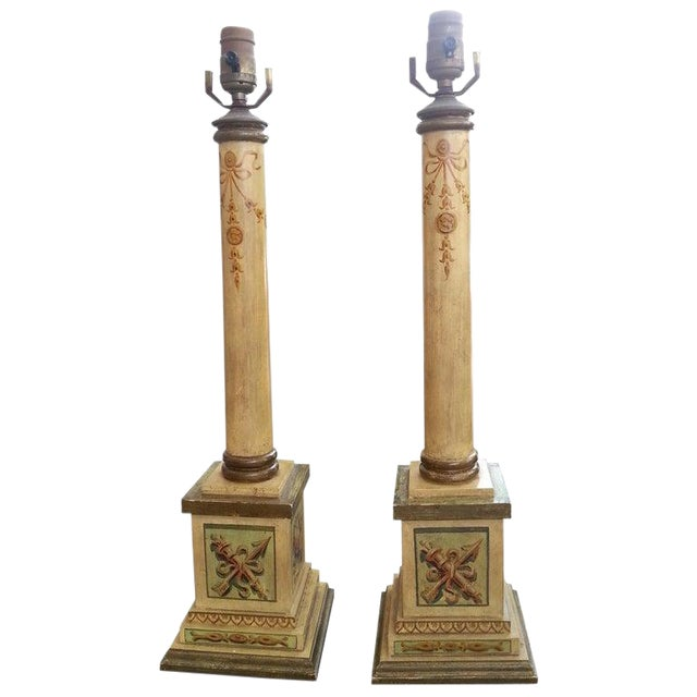 Column Table Lamps Neoclassic Revival 1950s Hand Painted Wood - a Pair For Sale