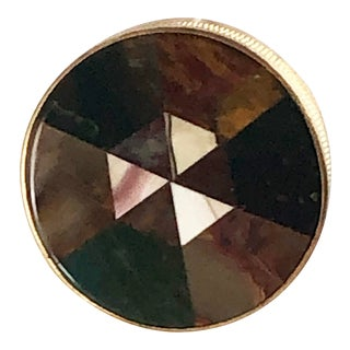 Antique Round Scottish Victorian Plaid Inlaid Agate Chalcedony Snuff Box For Sale