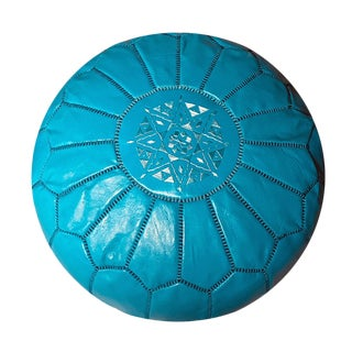 Moroccan Turquoise Leather Pouf Ottoman For Sale