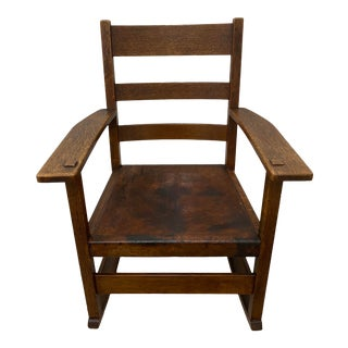 Stickley Arts & Crafts Rocking Chair W/ Leather Seat C.1900 For Sale