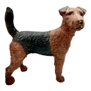 Antique Hubley Airedale Cast Iron Doorstop For Sale