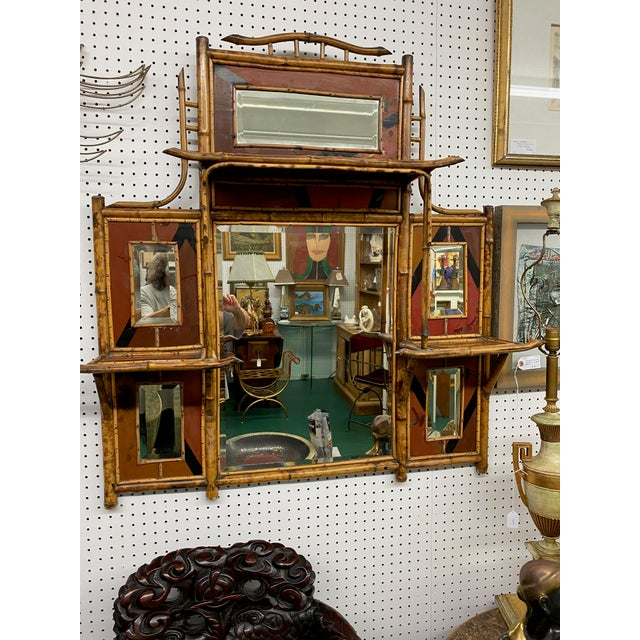 1950s Mid-Century Oriental-Inspired Bamboo Mirror With Shelves For Sale - Image 4 of 4