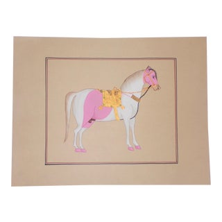 Vintage Marwari Horse Folk Art Painting For Sale