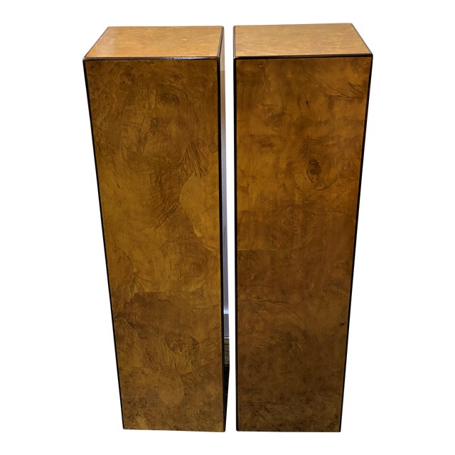 Vintage Drexel Heritage Pedestals Burlwood Restored - a Pair For Sale