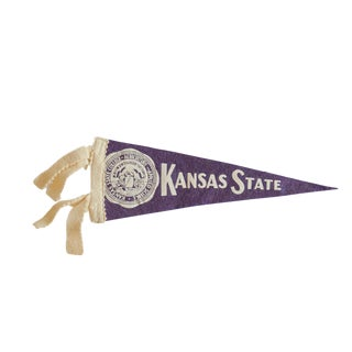 Mini Vintage Kansas State College Felt Flag Pennant For Sale