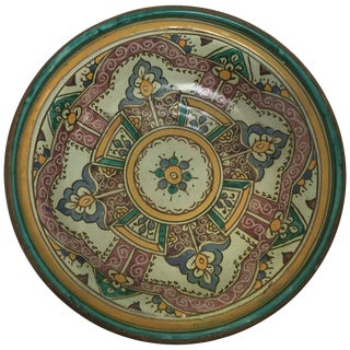 Moroccan Handcrafted Ceramic Bowl With Brass For Sale