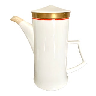 Vintage Mikasa Mid Century Modern Gilt Coffee Pot For Sale