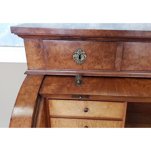 Late 19th Century Restored Antique 19th Century Burled Elm Roll Top Cylinder Desk C1860 For Sale - Image 5 of 13