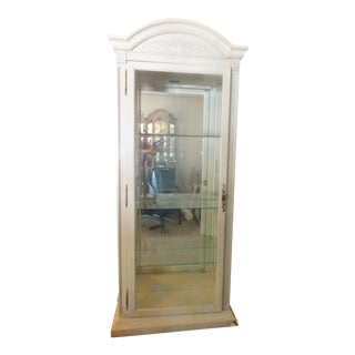 Vintage Glass Curio Tall Cabinet For Sale