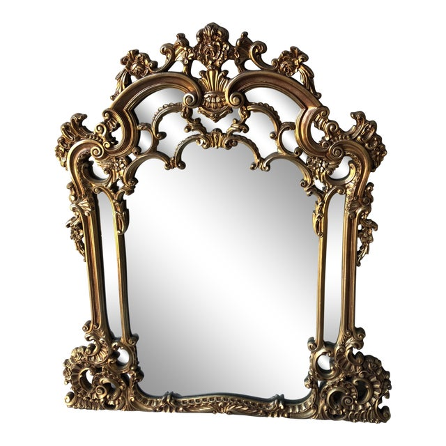 Rococo Gilded Wall Mirror For Sale