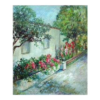 Mid 20th Century Carmel Cottage and Floral Landscape Painting For Sale