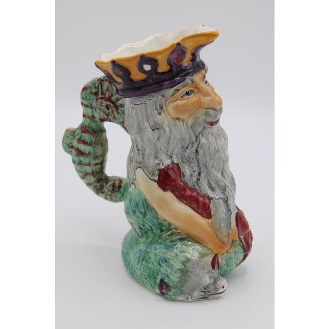Nautical English Staffordshire Father Neptune Nautical Mug / Toby Jug For Sale - Image 3 of 10