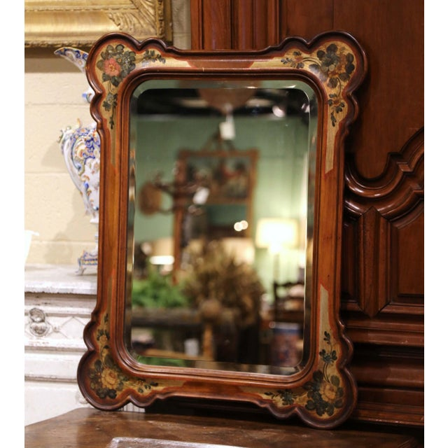 Decorate a powder room or a girl's bedroom with this elegant antique mirror. Crafted in Italy circa 1970 and rectangular...