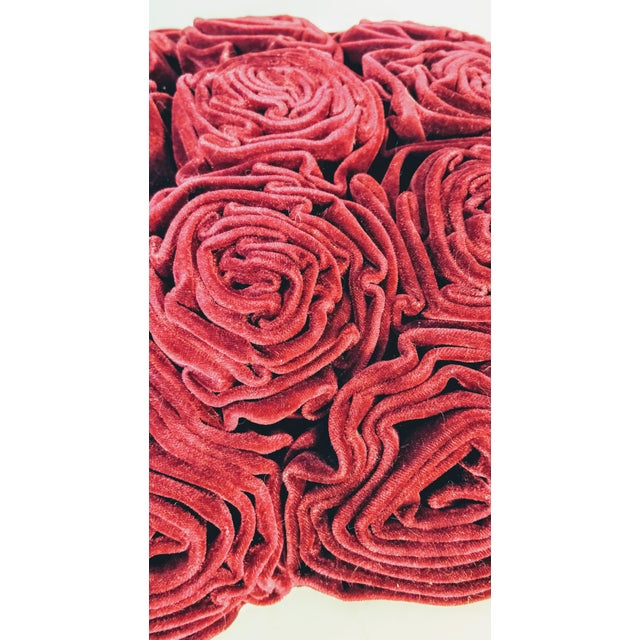 Beautiful cranberry deep red rose pillow. A bouquet of roses makes up the entire front of this super soft pillow. Monitors...