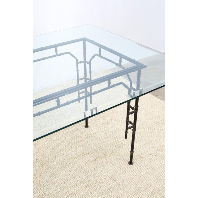 Hollywood Regency Faux Bamboo Iron Dining Table For Sale In San Francisco - Image 6 of 13