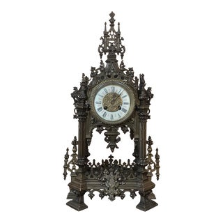 Mantel Clock, 19th Century French Gothic in Bronze For Sale