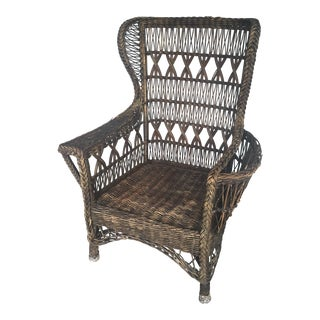 Antique Wicker Natural All Reed Wing Back Chair For Sale