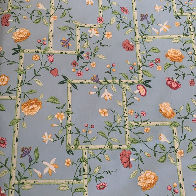 Wood Vintage 1977 Brunschwig & Fils Sky Blue Chinese Bamboo Chintz Fabric- 2 Yards For Sale - Image 7 of 11