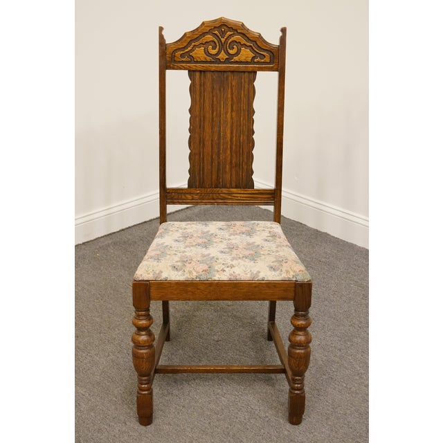 Gothic 1920's Antique Vintage Gothic Revival Jacobean Dining Side Chair For Sale - Image 3 of 9
