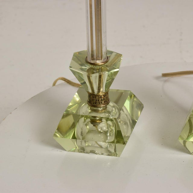 Hollywood Regency Era Crystal Table Lamps With Light Green Color Set of 2 For Sale In San Diego - Image 6 of 11