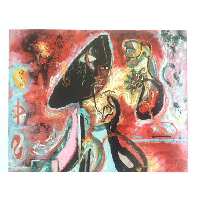 "Jackson Pollock Jackson Pollock Foundation Abstract Expressionist Collector's Lithograph Print "" the Moon - Woman "" 1942 For Sale - Image 4 of 13"